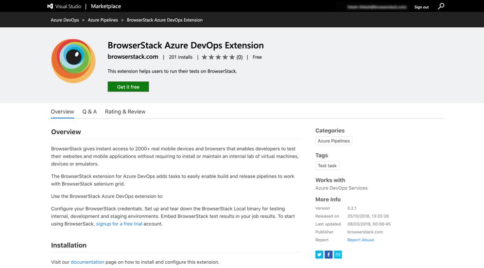 Visual Studio MarketPlace Installation Page