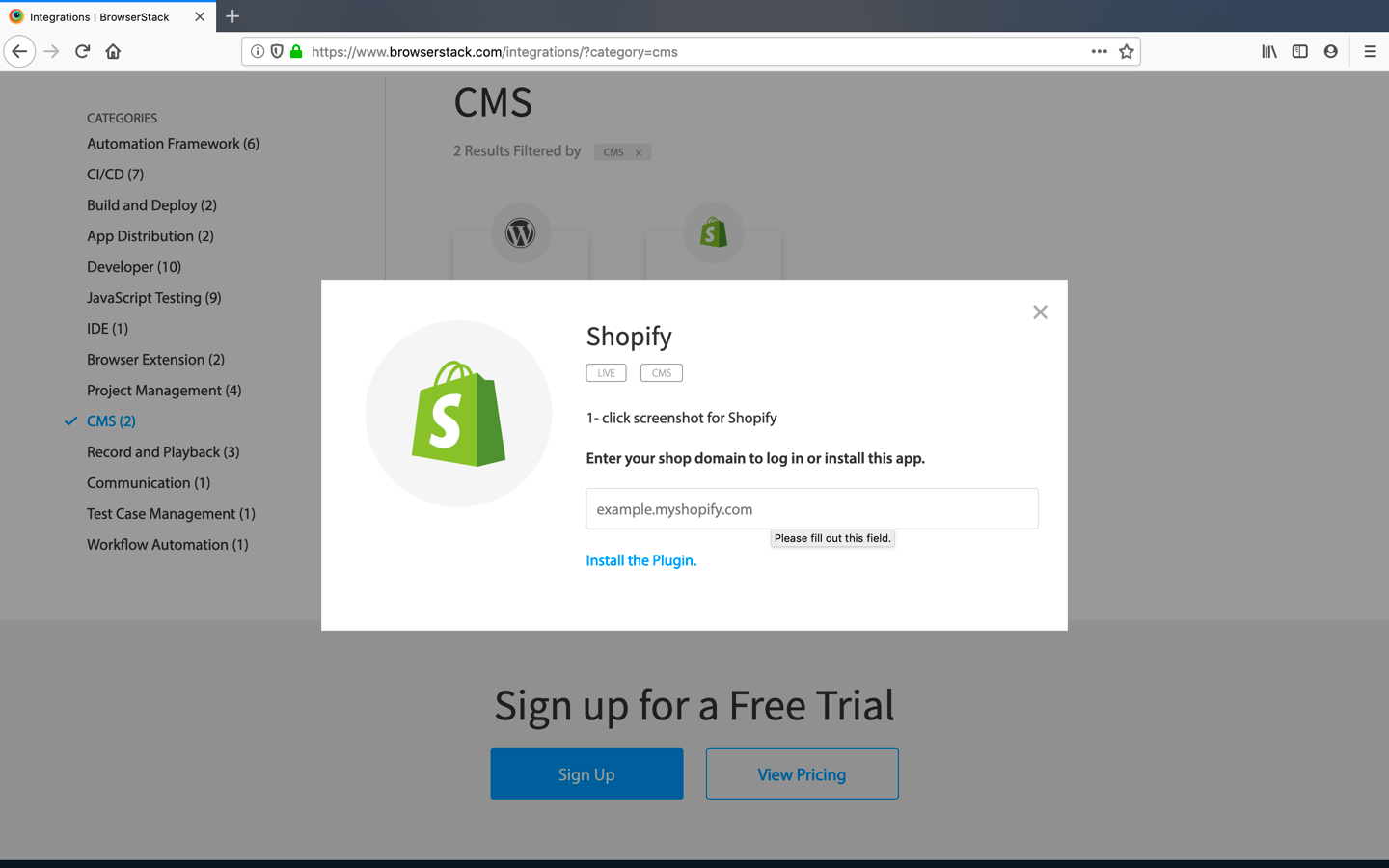 Click on Shopify section on integrations page