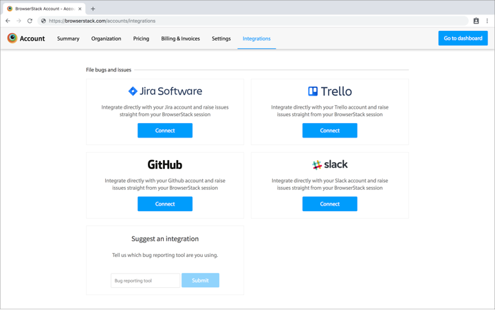 Image: Account Integrations page for all integrations