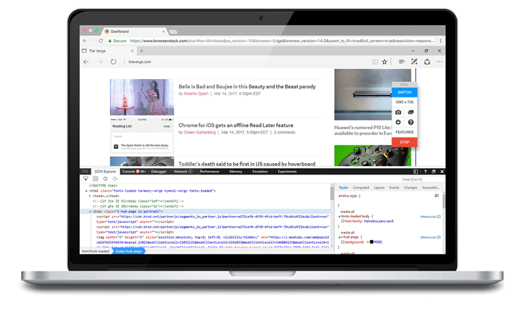 Microsoft Edge Browser Testing Online on Windows 10